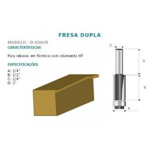 FRESA DUPLA P/REBAIXO FORMICA C/ROLAM HT 1/4 D03078 MAKITA