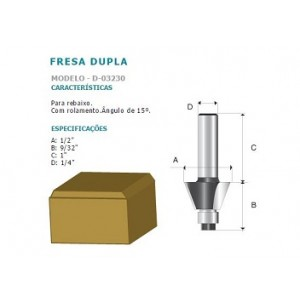 FRESA DUPLA P/REBAIXO 15* C/ROLAM HT 1/4 D03230 MAKITA