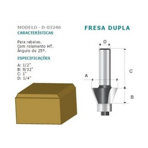 FRESA DUPLA P/REBAIXO 25* C/ROLAM HT 1/4 D03246 MAKITA