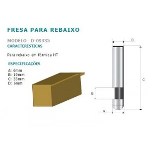 FRESA P/REBAIXO FORMICA  HT 6MM CORTE 6MM D09335 MAKITA