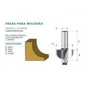 FRESA P/MOLD CONC RAIO DUPLA HT 6MM D09400 MAKITA