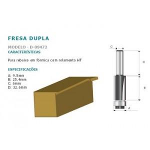 FRESA P/REBAIXO FORMICA  HT 6MM CORTE 6MM C/ROLAM D09472 MAKITA