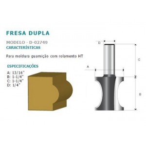 FRESA DUPLA P/MOLD GUARN C/ROLAM HT 1/4 D02749 MAKITA