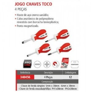 JOGO CHAVE FENDA/PHILIPS TOCO 4 PCS WORKER