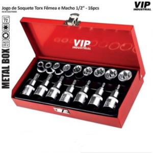 JOGO SOQUETE TORX MACHO/FEMEA 16PCS VIP-IND