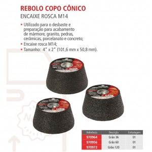 REBOLO COPO CONICO 100MM X GR060 WORKER