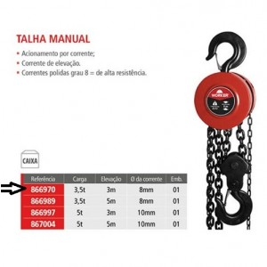 TALHA MANUAL CORRENTE 3,5 TON X 3,0 MTS WORKER