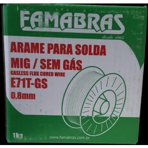 ARAME SOLDA MIG 0,8 MM ROLO 1,0 KG SEM GAS FAMABRAS